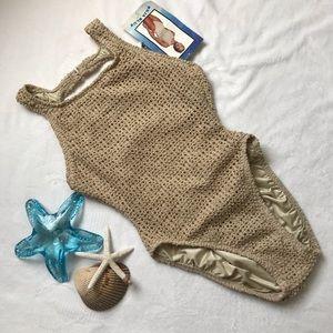 BAJA BLUE Size 10 Tan 1-Piece Swim Suit NWT